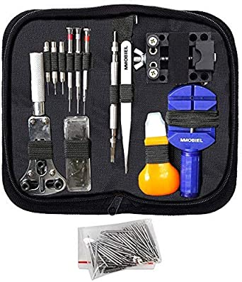 MMOBIEL Set de 144 Herramientas Profesionales de reparación de Relojes, Incluye Destornillador para Abrir la Tapa Trasera y Palanca para Insertar baterías