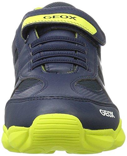 Geox J Munfrey a, Zapatillas Unisex Adulto Azul (Navy/lime)