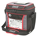 Coleman, Soft Cooler 3 Keeps ice up to 24 hours at temps up to 90°F Holds 30 cans Zippered main compartment is insulated to keep contents cold; front pocket provides extra storage for dry goods and utensils