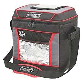 Coleman, Soft Cooler 81 Keeps ice up to 24 hours at temps up to 90°F Holds 30 cans Zippered main compartment is insulated to keep contents cold; front pocket provides extra storage for dry goods and utensils
