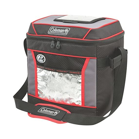 Coleman, Soft Cooler 1 Keeps ice up to 24 hours at temps up to 90°F Holds 30 cans Zippered main compartment is insulated to keep contents cold; front pocket provides extra storage for dry goods and utensils