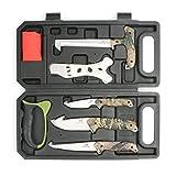 Mossy Oak Hunting Field Processing Kit, Fixed Blade Hunting Knife Set, Camo