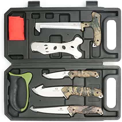 MOSSY OAK Hunting Field Processing Kit, Fixed Blade Hunting Knife Set, Camo
