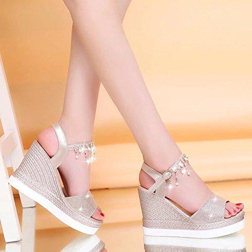 Alto Mujeres Nuevas Lentejuelas Hebilla Sandalias 10 Sandalias Cuña cm Romanas Dorado de Tacón Zapatos Verano Scrub pqY15fdwq
