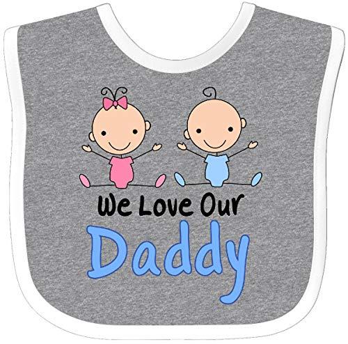 Inktastic - Boy Girl Twins Love Daddy Baby Bib Heather/White d294