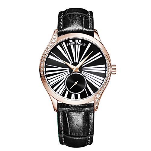 Reef Tiger Luxury Fashion Watches Women Genuine Leahter Strap Rose Gold Automatic Watch RGA1561