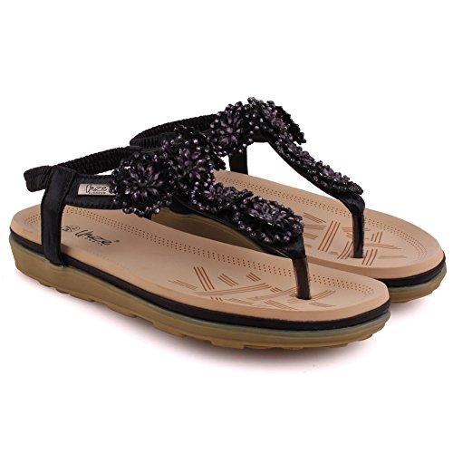 Unze Nuevas mujeres de las señoras 'Imoga' Embellecido Floral Carnaval Playa Sandalias de verano Tamaño del zapato 3-8 Negro
