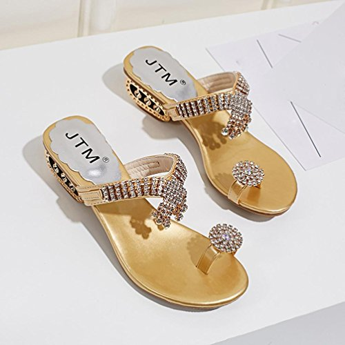 VEMOW 2018 Spring and Summer New Shoes for Ladies Women Beach Bohemian Sandals Flip Flop Fashion Rhinestone Wedges Shoes Crystal High Heels Shoes Ladies Girls School Sport Party Club Dancer Beach Glod p8kLOO