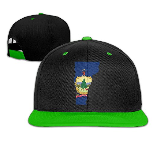 Flag Map Of Vermont Hip-Hop Snapback Hats One Size KellyGreen Unisex (Crazy Vermont Teddy Bear)