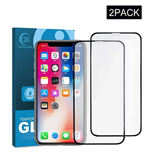 QIANXIANG Screen Protector Compatible for iPhone Xs/iPhone X, 5.8Inch HD Clear Super Strong 9H Hardness, 2 Pack 6D Full Coverage Tempered Glass Screen Protector.(Black)