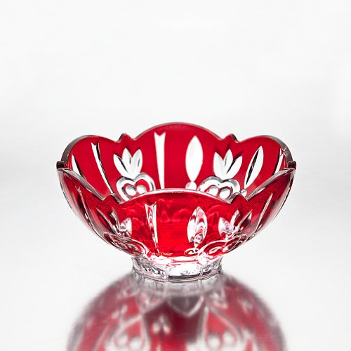 Fine red Crystal candy dish
