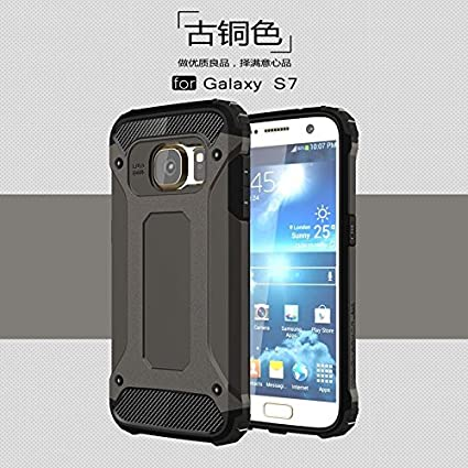 for Samsung Galaxy S7 Case, Shockproof PC+TPU Protective Hard Back Cover with Heat Dissipation Design, Dual Layer Heavy Duty Hybrid Armour Tough Protector ASDJKL (Color : Blue)