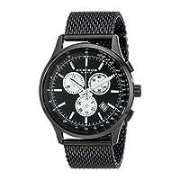 Akribos XXIV Reloj de pulsera de cuarzo negro con cronógrafo y esfera negra AK625BK para hombres