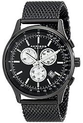 Akribos XXIV Men's AK625BK Round Black Dial Chronograph Quartz Black Bracelet Watch