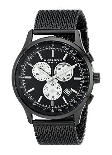 (Akribos XXIV Men's AK625BK Round Black Dial Chronograph Quartz Black Bracelet)