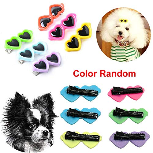 gootrades 5 PCS Random Multicolor Kitten Puppy Plastic Heart Shape Hair Barrette Sunglass Hairpins Pet Hair Clips