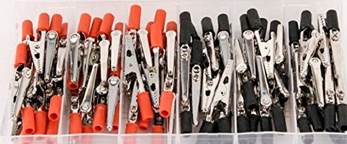 80 Piece Electrical Alligator Clip Assortment Set – Insulated Stainless Steel – Red and Black Colors – By Katzco