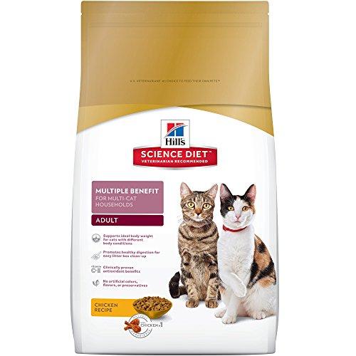 Hill's Science Diet Adult Multiple Benefit for Multi-Cat Households, alimento seco para hogares con varios gatos, receta de...