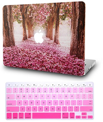 KEC Laptop Case for MacBook Air 13 w/ Keyboard Cover Plastic Hard Shell Case A1369 / A1466 (Cherry Blossoms)