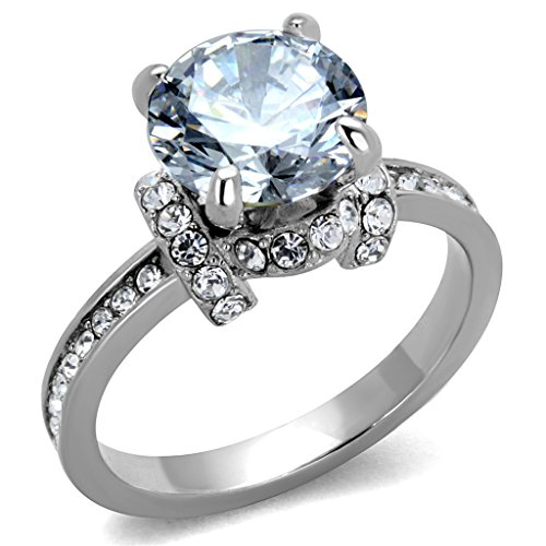 Sparkling 3 Ct Round Cut Cz Stainless Steel Engagement Ring Womens Size 5-10