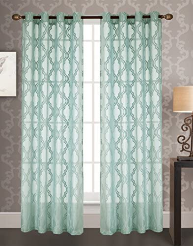 RT Designers Collection Knox Jacquard 54 x 84 in. Grommet Curtain Panel, Aqua