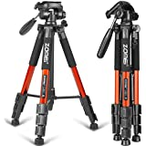 "ZOMEI 55"" Compact Light Weight Travel Portable Folding SLR Camera Tripod for Canon Nikon Sony DSLR Camera with Carry Case(orange)"