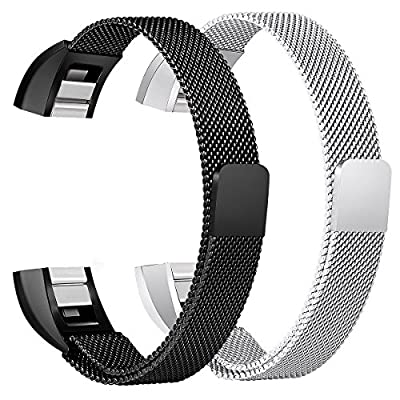 bayite For Fitbit Alta HR and Alta Bands Pack of 2, Replacement Milanese Loop Stainless Steel Metal Bands Women Men Silver and Black