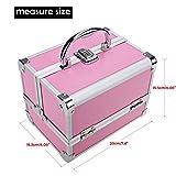 Homdox Small Makeup Train Case Makeup Travel Organizer Aluminum Cosmetic Box With Mirror + 2 Keys Jewelry Box Cosmetic Organizer 7.8 x 6.05 x 6.05inch Pink+Pink