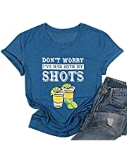 I've Had Both My Shots T Shirt Women Funny Vaccine Tee Shirt Drink Vaccinated Letter Print Short Sleeve Top