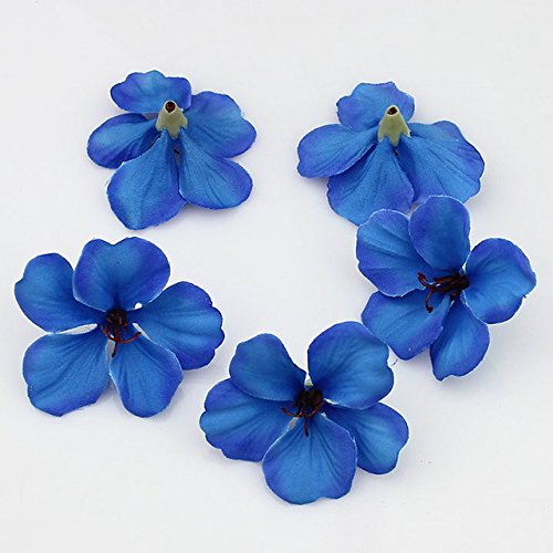 100pcs/lot Spring Silk Orchid Artificial Flower Heads Gladiolus Cymbidium Flowers For Wedding Decoration (royal blue) (Cymbidium Orchid Silk Flower)