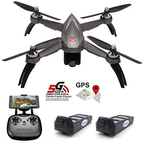 Teeggi MJX Bugs 5W B5W GPS FPV RC Drone with Camera Live Video GPS Smart Return Quadcopter with 5G 1080P HD WiFi Camera and Follow Me Altitude Hold Headless Mode Track Flight (B5W-Gray)
