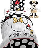 DISNEY 5pc's Girls MINNIE MOUSE REVERSIBLE Couture Black White Polka Dots TWIN Size Comforter Set (64'' x 86''), One TWIN Size -Sheet Set + MINNIE MOUSE PAL!