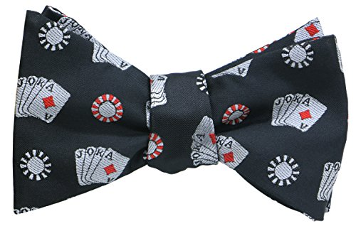 OCIA Mens Designer Self Bow Tie Pattern Woven Bowtie Poker Card - -