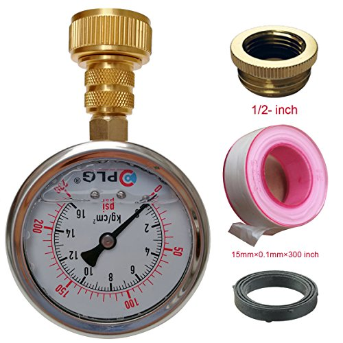 Pressure Test Set (PLG Water Pressure Gauge Test Set,2 in. 0 psi 230 psi,with Teflon tape about 300 inch, 3/4 GHT Female Hose Connector,3/4 to 1/2 Spigot Adapters)