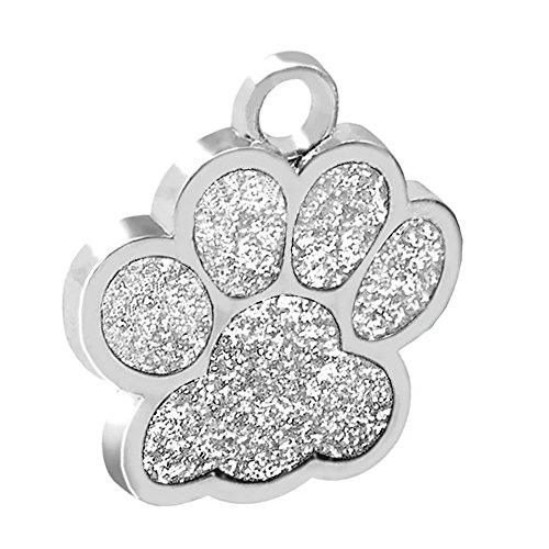 Pet ID Tags for Dogs and Cats Glittery Paw Print Collar Tag Personalized Custom (Silver, 1