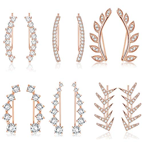 Finrezio 6Pairs Ear Cuffs Climber Hoop Earring CZ Arrow Crawler Stud Earring Jacket for Women