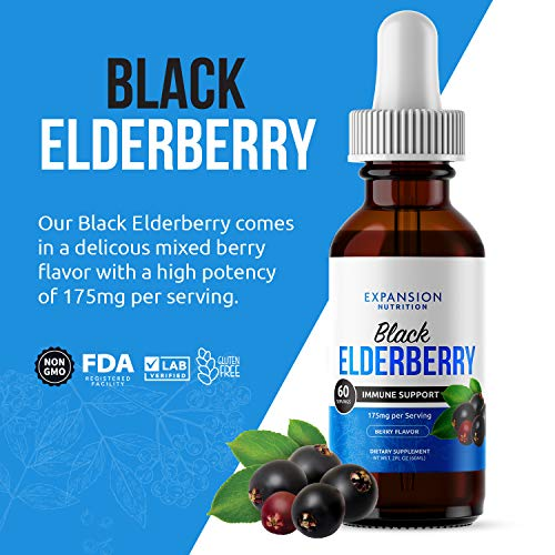 (2 Pack) Elderberry Drops Liquid Extract for Adults - Daily Immune Support Booster 10x Strength Concentrate Syrup - Vegan Sambucus Nigra Antioxidant Drops Supplement (Berry Flavor) (120 Servings)