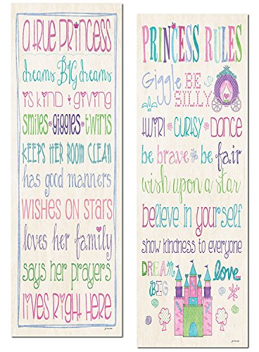 Gango Home Décor Adorable Princess Rules and A True Princess Set; Great for a Child's Room or Nursery; Two 8x18in Poster Print. Pink/Teal/Purple