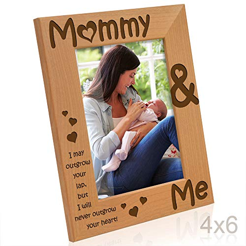 Kate Posh - Mommy & Me Engraved Natural Wood Picture Frame, I Love Mommy Photo Frame, New Baby Gifts, Nursery Picture Frame, New Mom Gifts (4x6-Vertical)