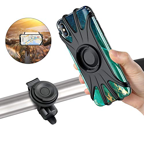 Detachable Bike Phone Mount,360°Rotation Phone Hold for Bike/Bicycle/Motorcycle Handlebars Fits iPhone Xs Max/XS XR X/6S/7/8 Plus, Galaxy S10+/S10/S10e/S9+/S9/S8, 4.0″~6.5″ Bike Cell Phone Mount