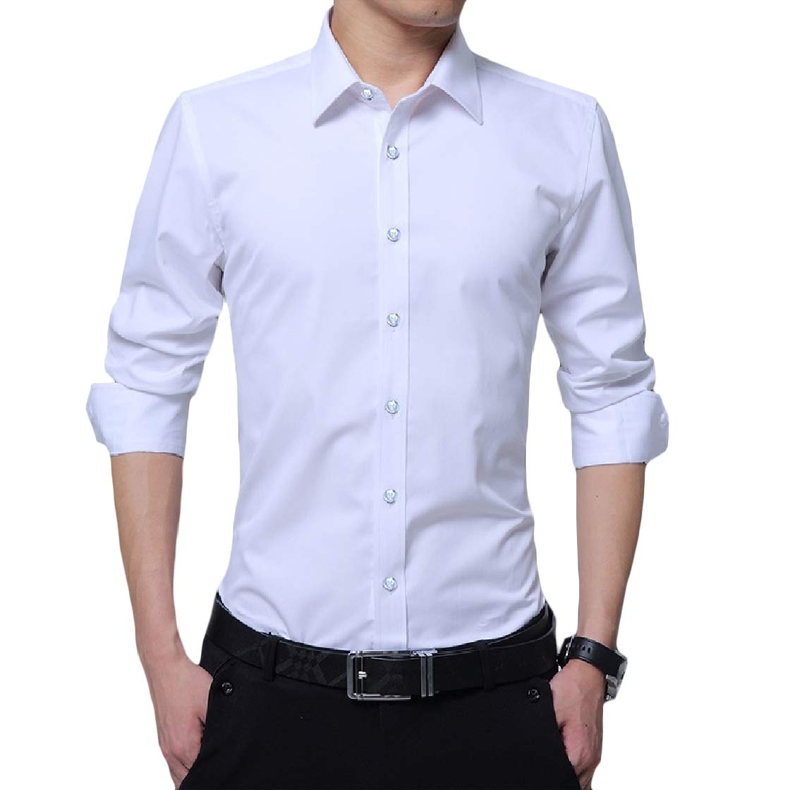 YUNY Mens Solid Business Plus Size Curvy Long Sleeve Lapel Button Top Shirt White 5XL