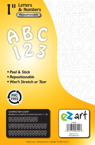 UPC 010736061053, Headline Sign 6105 EZ Art Peel-and-Stick Letters and Numbers, 1-Inch, 93 Pieces, White