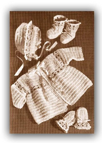 Mitt Flower (Baby Flower Sacque Booties Bonnet Mitts Layette Vintage Crochet EBook Download (Needlecrafts))