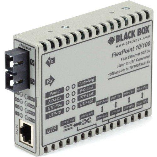 Black Box FlexPoint LMC100A-SC-R3 Tanscevier Media Converter - 1 x Network (RJ-45) - 1 x SC Ports - DuplexSC Port - Multi-mode, Single-mode - Fast Ethernet - 10/100Base-TX, 1000Base-FX - Rack-mountabl