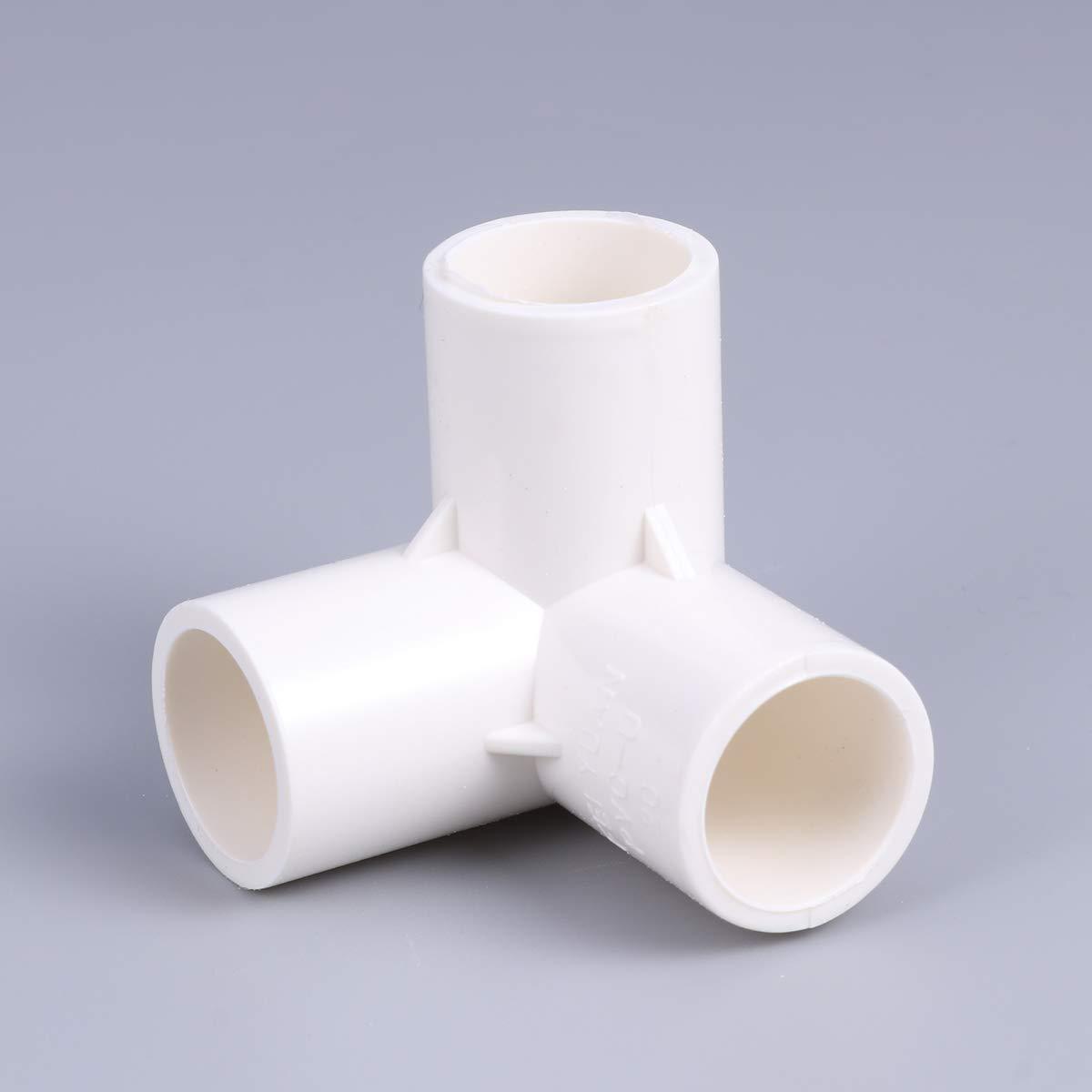 Yardwe 10pcs joint /à 3 voies raccord de raccord de tube de tuyau deau en PVC blanc
