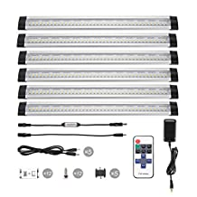 B-right 12-inch Dimmable Under Cabinet Light, LED Under Counter Light with Remote Control, 48W Fluorescent Tube Equivalent, 6 Panels Kit, 1800lm, Total of 24W, 3000K Warm White, Closet Lighting for Countertops, Closets, Pantries, Bookshelves