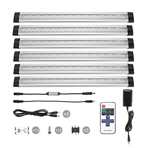 B-right 12-inch Dimmable Under Cabinet Light with Remote Control, 48W Fluorescent Tube Equivalent, 6 Panels Kit, 1800lm, Total of 24W, 4000K Daylight White, LED Closet Lighting, Under Counter Light (Under Cabinet Light Dimmable compare prices)