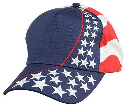ImpecGear 2 Packs American Flag Patriotic Flag Baseball Cap/Hat in Red, White and Navy Blue Stars and Wavy Stripes (2 Pack for Price of 1) (US Flag-5)