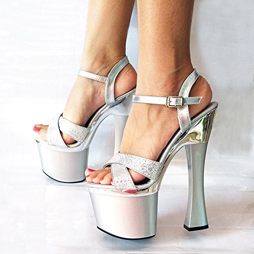 Ajunr Moda/elegante/Transpirable/Sandalias Ajunr Moda/elegante/Transpirable/Sandalias En verano sexy grueso Calzado zapatos 18cm super tacones altos zapatos de boda Silver