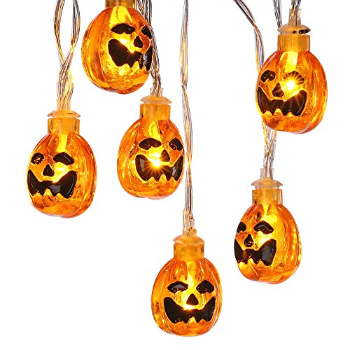 Icicle Orange Halloween Pumpkin Lights, 3D Pumpkin String Light Indoor LED Jack-O-Lantern Halloween Lights (9.51ft 20 LEDs, -